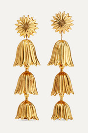 Tiered Flower gold-tone clip earrings
