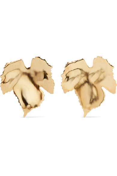 Grape Leaf Gold Tone Clip Earrings by Oscar De La Renta