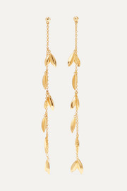 Dot Leaf gold-tone earrings