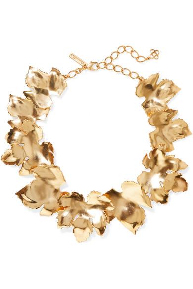 OSCAR DE LA RENTA | Oscar de la Renta - Grape Leaf Gold-tone Necklace - one size | Goxip