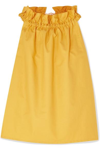 ATLANTIQUE ASCOLI | Atlantique Ascoli - Latitude Rope-trimmed Gathered Cotton-poplin Top - Yellow | Goxip