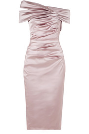 Off-the-shoulder ruched duchesse-satin dress