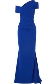 Talbot Runhof One-shoulder ruched crepe gown