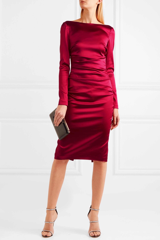 Ruched duchesse-satin dress
