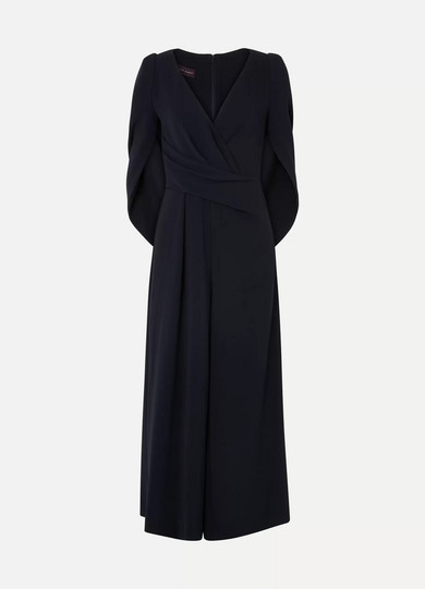 Cape-Effect Cady Jumpsuit in Midnight Blue