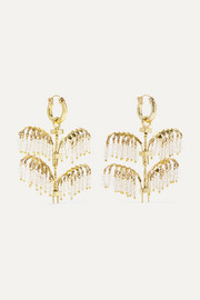 Ellery Genealogy Mini Palm gold-tone crystal earrings