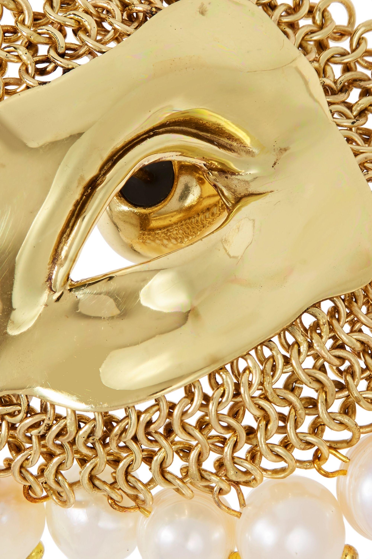 Ellery Pedigree XL Eye gold-tone pearl earrings