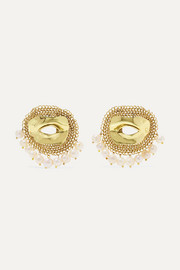 Pedigree XL Eye gold-tone pearl earrings