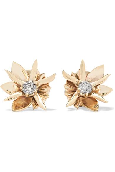 Wildflower 9 Karat Gold Diamond Earrings by Meadowlark