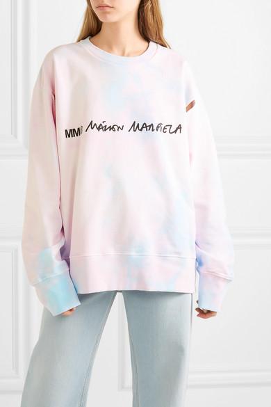 Mm6 Maison Margiela T-shirts Cutout printed tie-dyed cotton-jersey sweatshirt