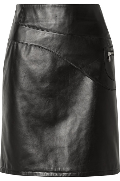 SANDY LIANG Blossom Paneled Leather Skirt in Black