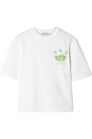 SANDY LIANG | Sandy Liang - Congee Printed Cotton-jersey T-shirt - White | Goxip