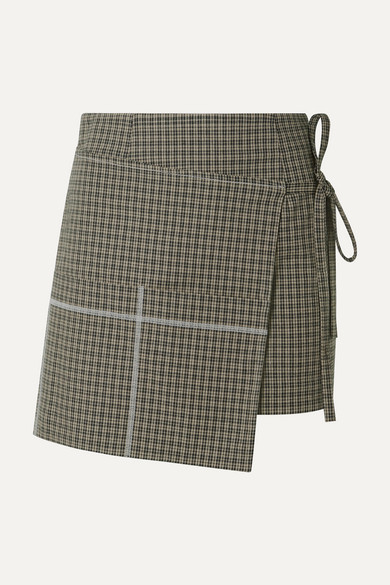 SANDY LIANG Checked Wrap-Effect Cotton-Blend Mini Skirt in Mushroom