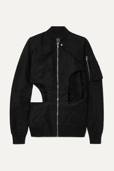 Cutout Cotton Canvas Bomber Jacket by Rick Owens
