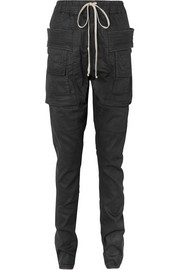 Coated denim tapered pants