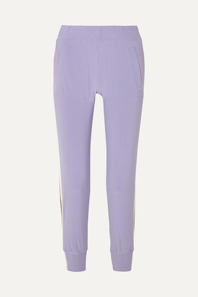 Striped Stretch-Jersey Track Pants in Purple