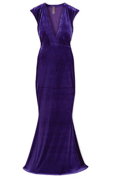 Velvet Deep-V Mermaid Gown in Purple