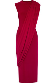 Norma Kamali Asymmetric draped stretch-jersey midi dress
