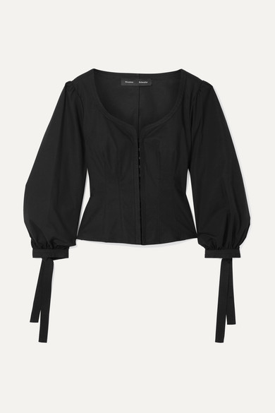 PROENZA SCHOULER | Proenza Schouler - Tie-detailed Stretch-cotton Poplin Top - Black | Goxip
