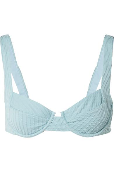 F E L L A Casanova Textured Underwired Bikini Top in Sky Blue