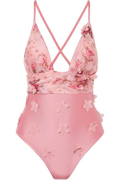 ELENA MAKRI Hebe Appliquéd Floral-Print Swimsuit in Baby Pink