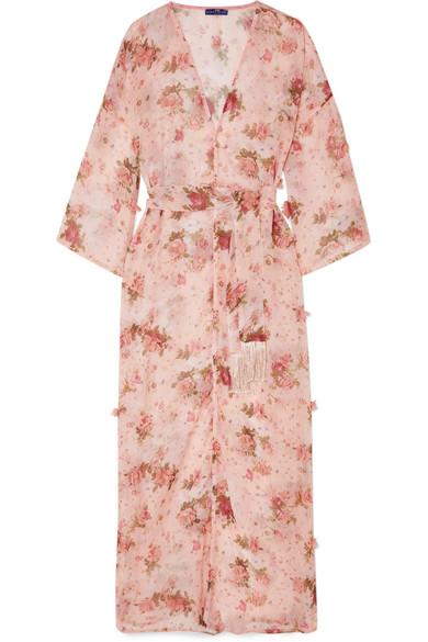 ELENA MAKRI Cemeli Appliquéd Floral-Print Chiffon Robe in Baby Pink