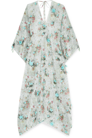 ELENA MAKRI Delos Appliquéd Floral-Print Chiffon Kaftan in Sky Blue