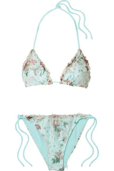 ELENA MAKRI Erato Appliquéd Floral-Print Bikini in Sky Blue