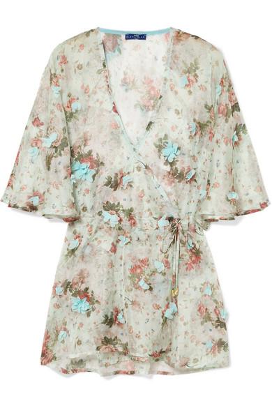 ELENA MAKRI Aphrodite Appliquéd Floral-Print Chiffon Wrap Top in Sky Blue