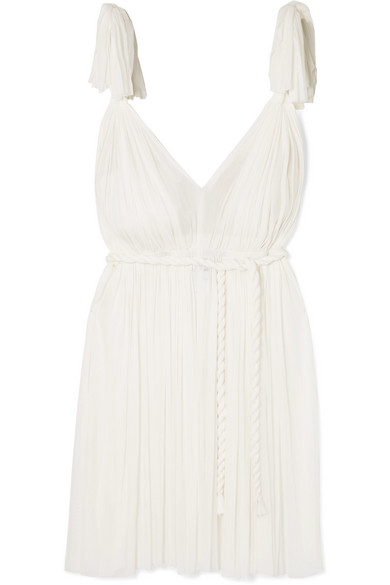 ELENA MAKRI Daphne Pleated Silk-Tulle Mini Dress in White