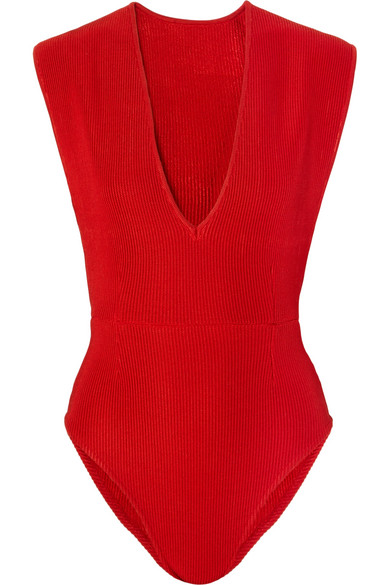HAIGHT | Haight - Ribbed-knit Bodysuit - Red | Goxip