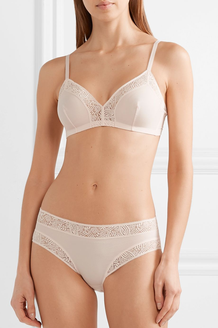 Eres Merveilles Charme lace-trimmed textured stretch-jersey soft-cup triangle bra
