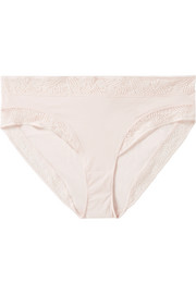 Eres Nuage lace-trimmed textured stretch-jersey briefs