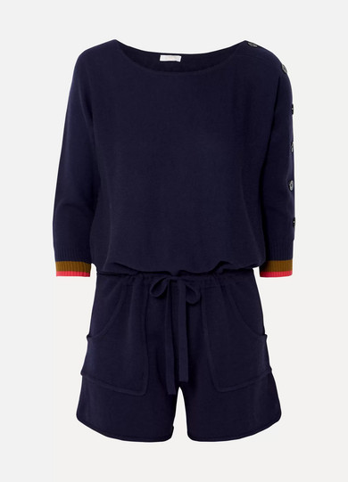 Visuel Cashmere And Wool-Blend Playsuit in Navy