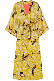 Perroquet printed silk-satin robe