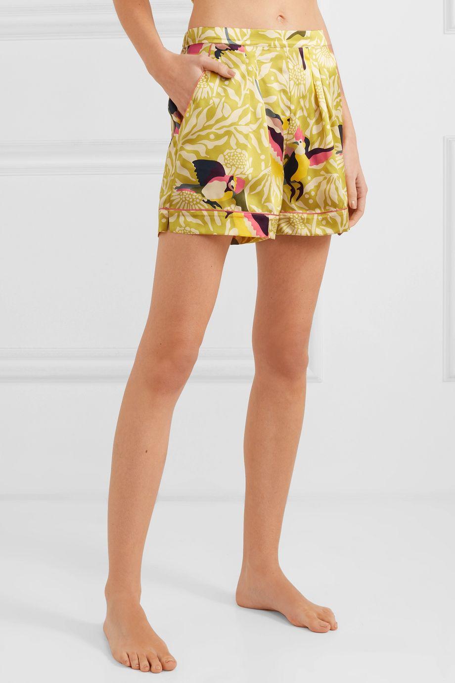 Eres Calao printed silk-satin pajama shorts