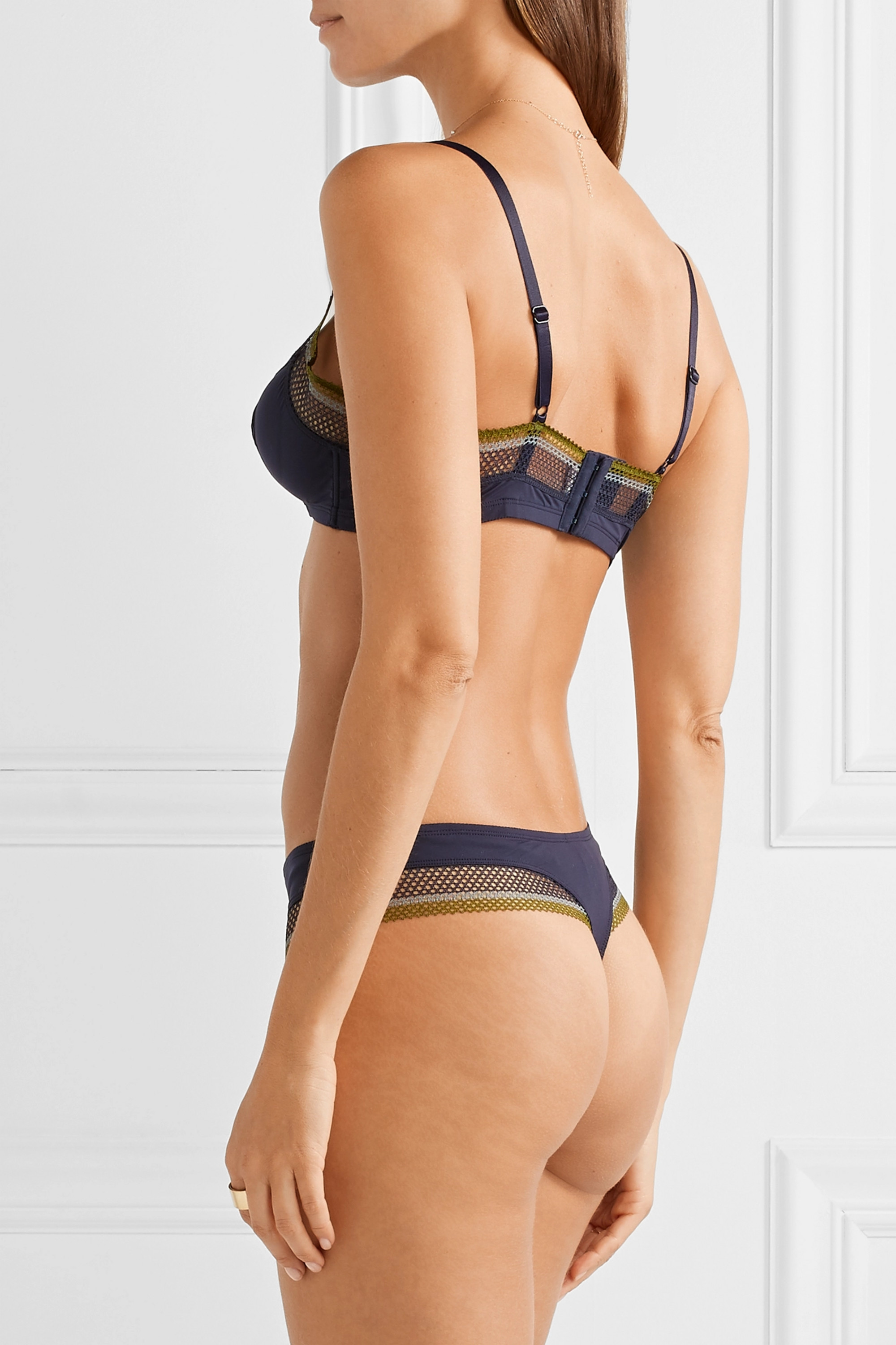 Eres Rainbow crochet-trimmed stretch-jersey thong
