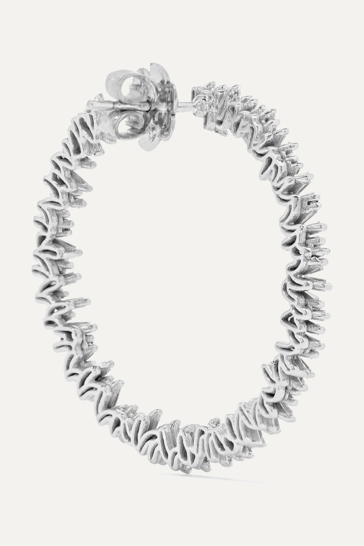 White Gold Spiral 18-karat Diamond Hoop Earrings | Suzanne Kalan