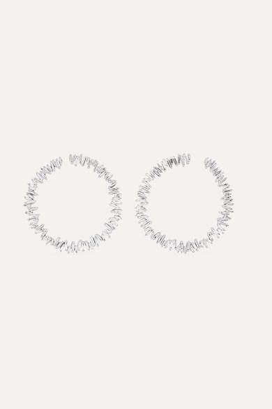 Spiral 18-Karat White Gold Diamond Hoop Earrings