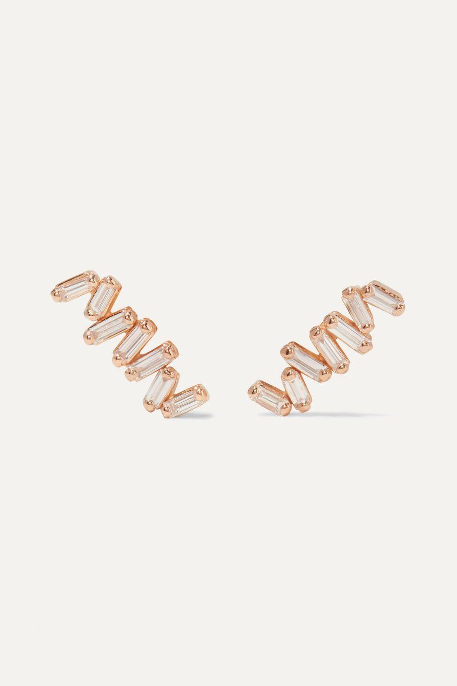 Suzanne Kalan 18-karat rose gold diamond earrings