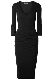 Ruched stretch-cotton jersey midi dress