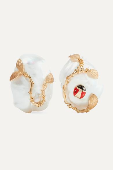 OF RARE ORIGIN Ladybug Gold Vermeil, Enamel And Pearl Clip Earrings