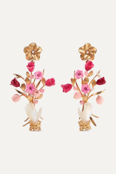 OF RARE ORIGIN Blossom Gold Vermeil Multi-Stone Earrings in Pink