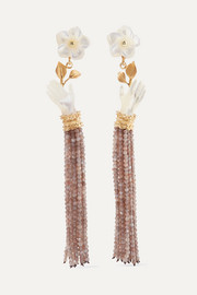 Forget Me Not gold vermeil, mother-of-pearl and moonstone earrings