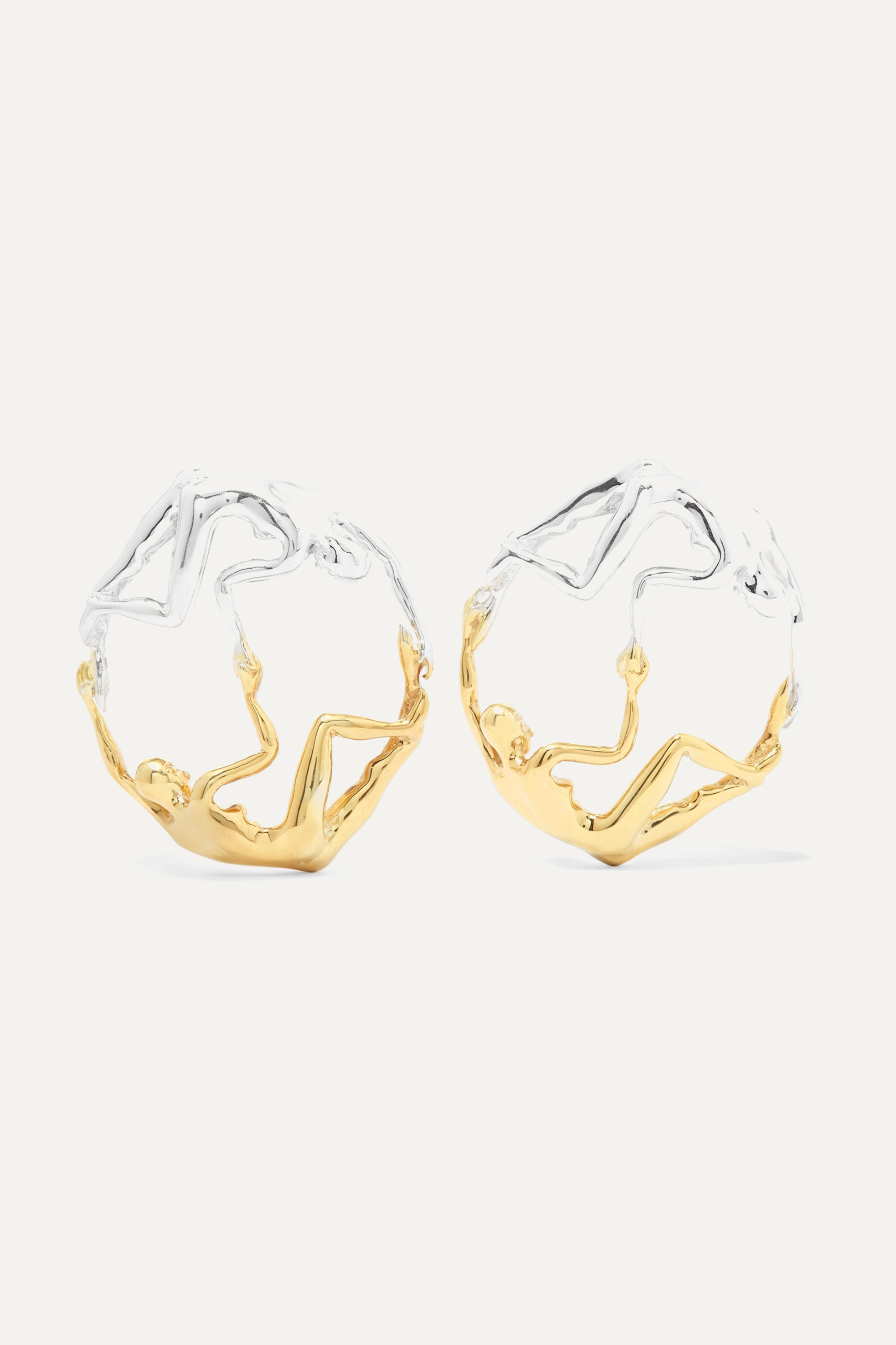 Paola Vilas Dança silver and gold-plated earrings