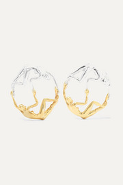 Dança silver and gold-tone earrings