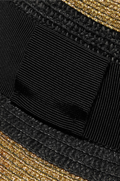 Etro Hats Grosgrain-trimmed striped paper-blend sunhat