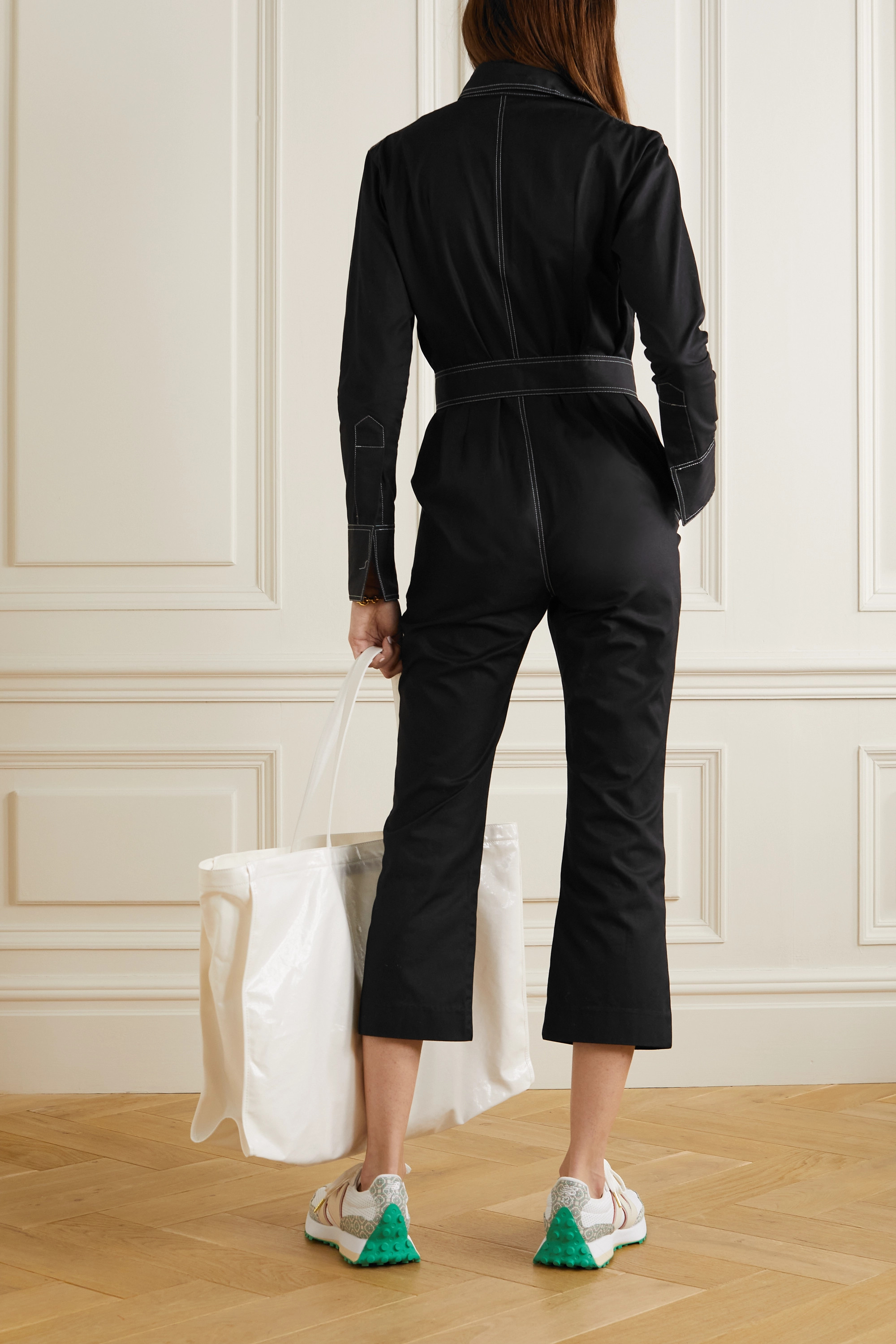Orseund Iris Workwear Jumpsuit aus Baumwollgabardine mit Gürtel