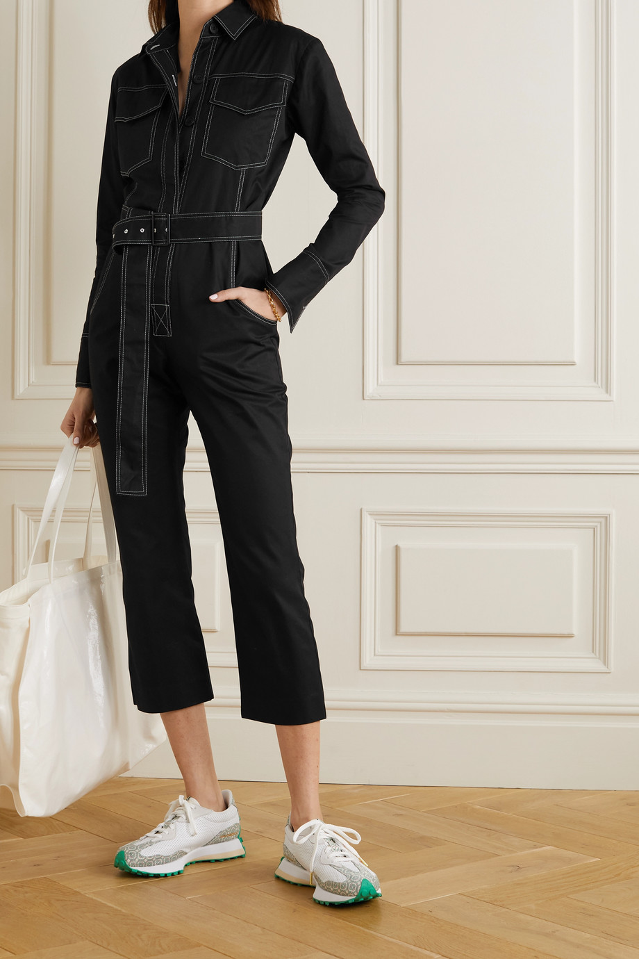 Orseund Iris Workwear 配腰带纯棉华达呢连身裤