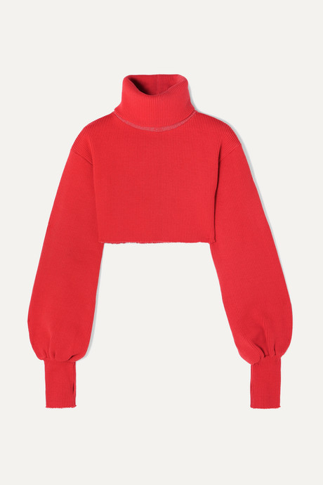 Red Distressed cropped ribbed-knit turtleneck sweater | Orseund Iris 8EocPA